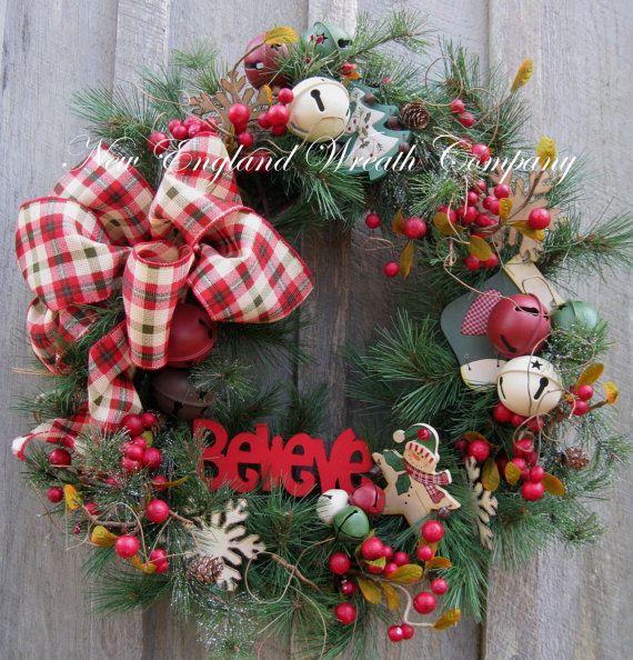 Christmas Wreath, Holiday Wreath, Whimsical Christmas, Snowman