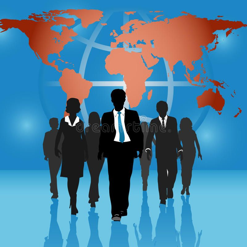 Global Business People Team World Map Background Team Of
