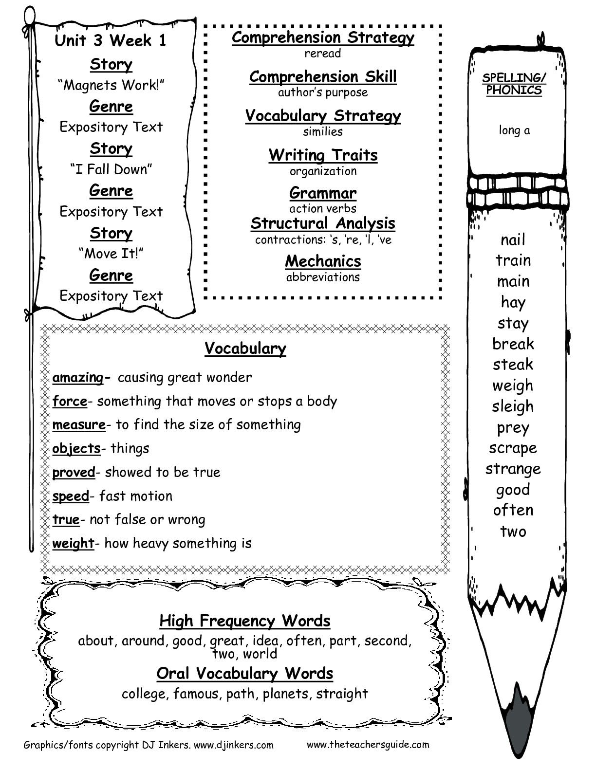 Worksheets Second Grade Phonics Worksheets the teachers guide free worksheets smartboard templates and second grade wonders unit six week one printouts weekly outline
