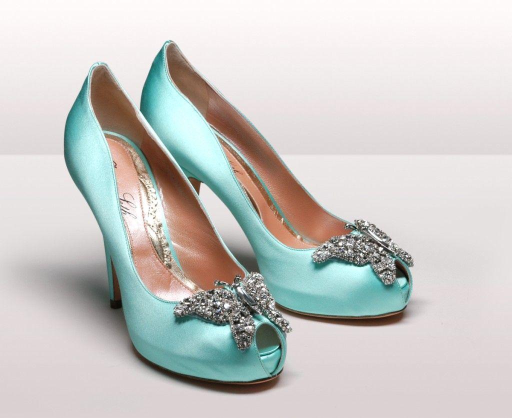 Farfalla Light Tiffany Blue Satin Platform Heel Tiffany Blue Shoes Tiffany Blue Wedding Shoes Butterfly Heels