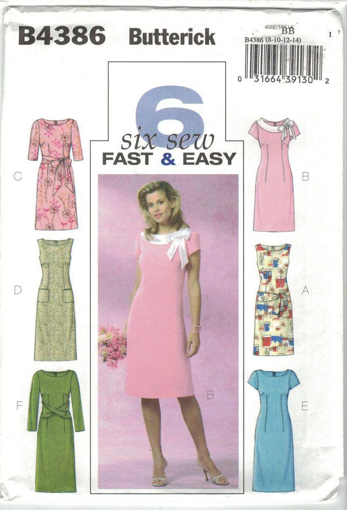 Butterick 4386 Sheath Dress Pattern Sash Option Size 8 10 12 14 Fast