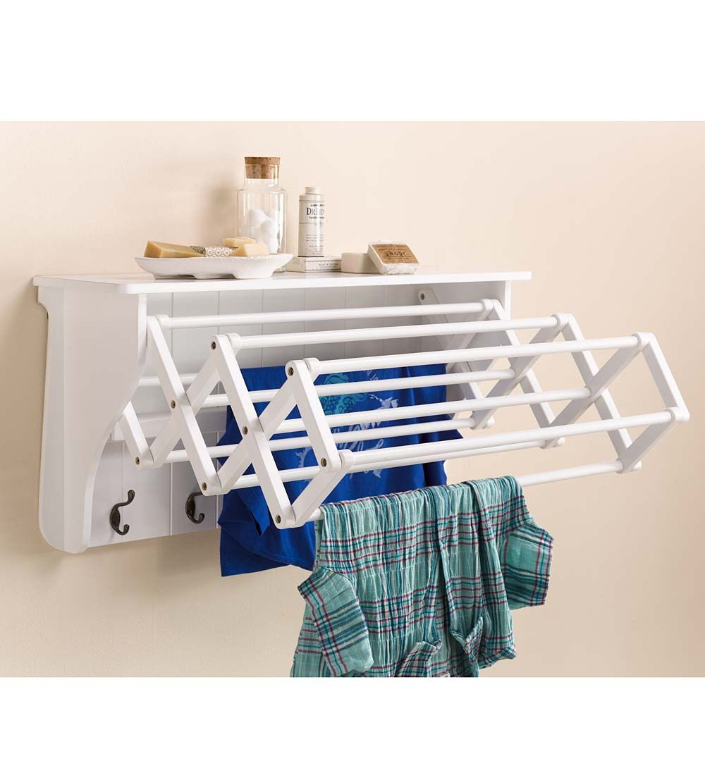Wall Mount Clothes Drying Shelf With Accordion Rack Storage Helpers Wall Drying Rack Shelves Bench With Storage