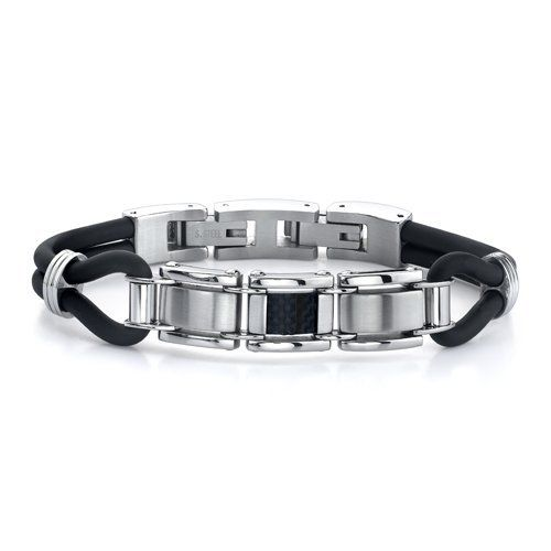 BillyTheTree Jewelry Stainless Steel Polished Black Carbon Fiber Inlay 6mm Band Ring