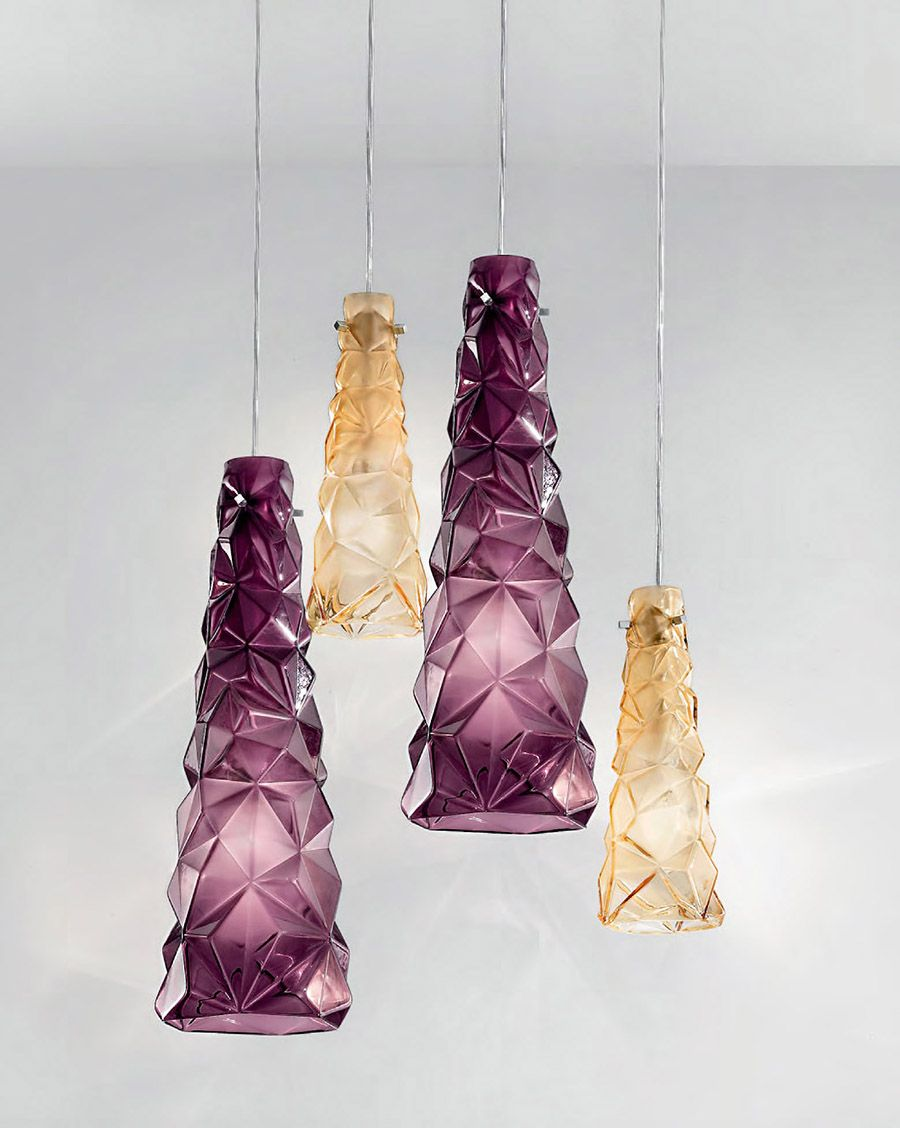 Purple Amber Contemporary Modern Murano Glass Pendant Lighting