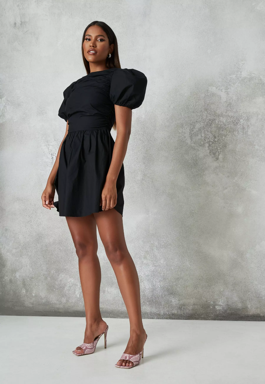 Black Poplin Ruched Puff Sleeve Skater Dress Missguided Black Short Dress Fit N Flare Dress Puff Sleeve Short Dresses [ 1448 x 1000 Pixel ]