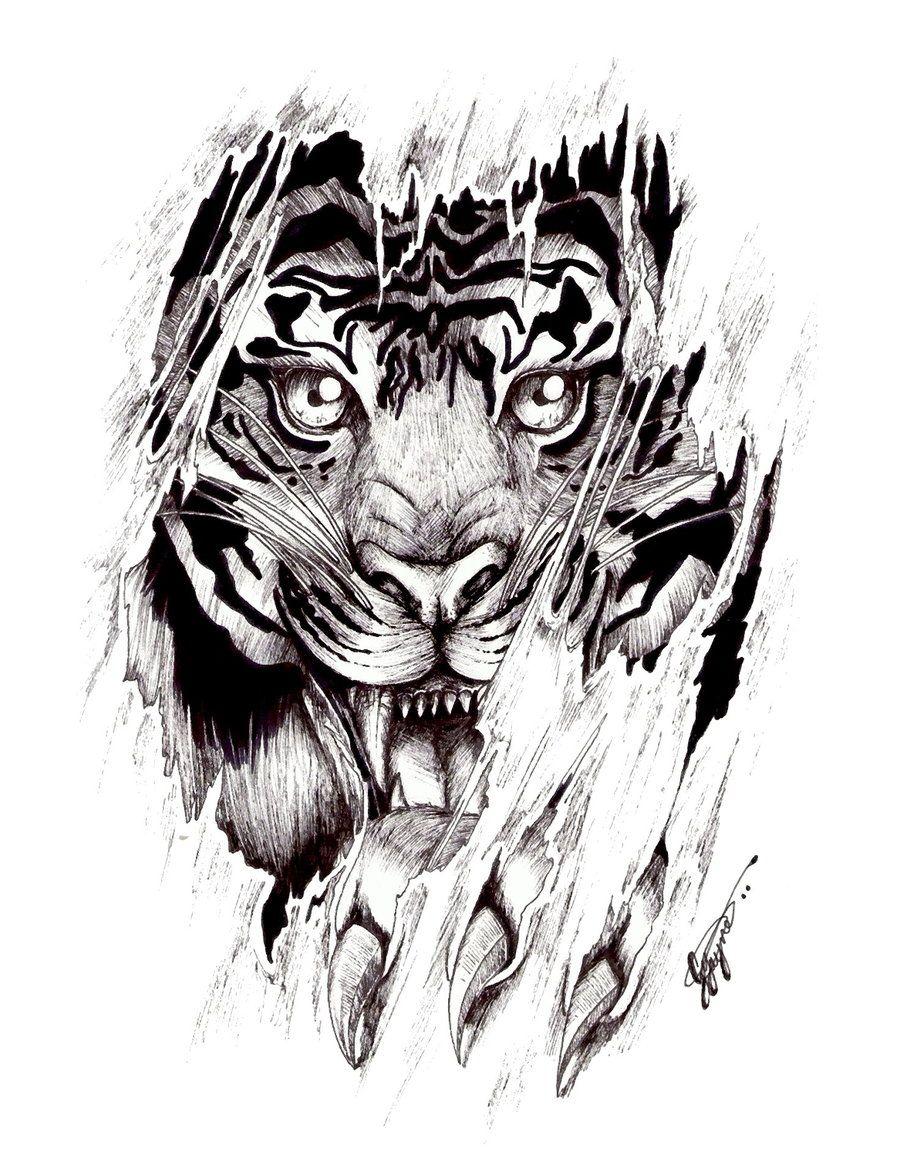 Tiger Tattoo Designs Symbolism New Tattoo Tatuagem Detalhada Tigre Desenho Tatuagem De Animais