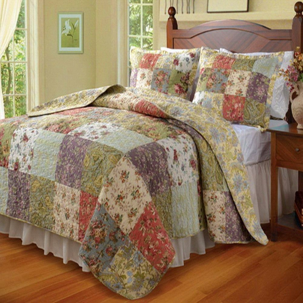 Country Cottage Patchwork 100 percent Cotton Reversible Quilt and Shams Set. The bedding set is made of 100% soft Cotton cover and fill. It is reversible to a coordinating pattern and color for two look in one.
