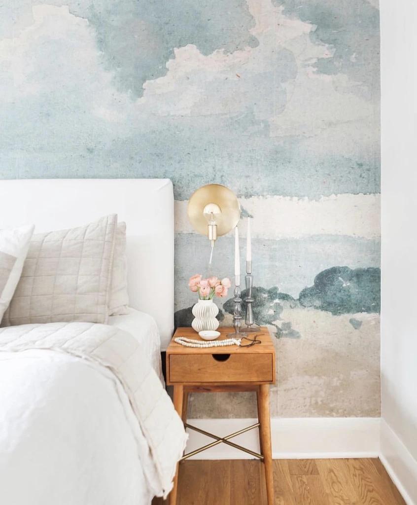 Watercolor Blue & Grey Cloud Wallpaper in 5  Country bedroom