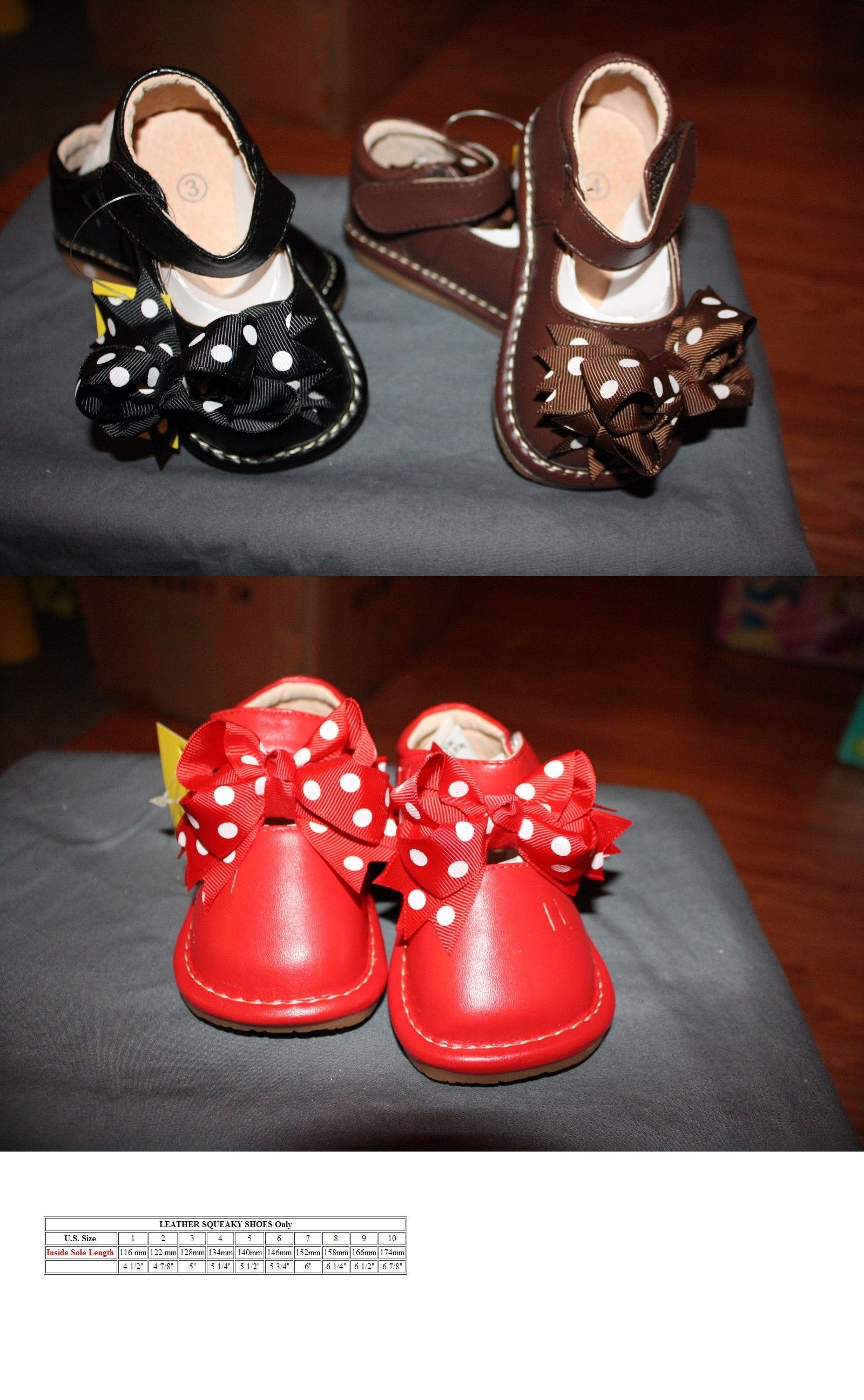 85ab00728ab51 Baby Shoes 147285  Toddler Girl S Mary Jane Squeaky Shoes Bows Included  Brown Pink Black