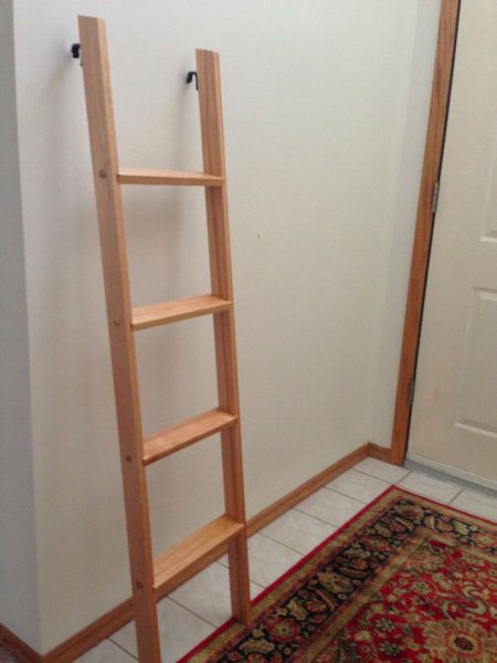 Solid Wood Ladder With Metal Clip To Hang On Top Bunk 54