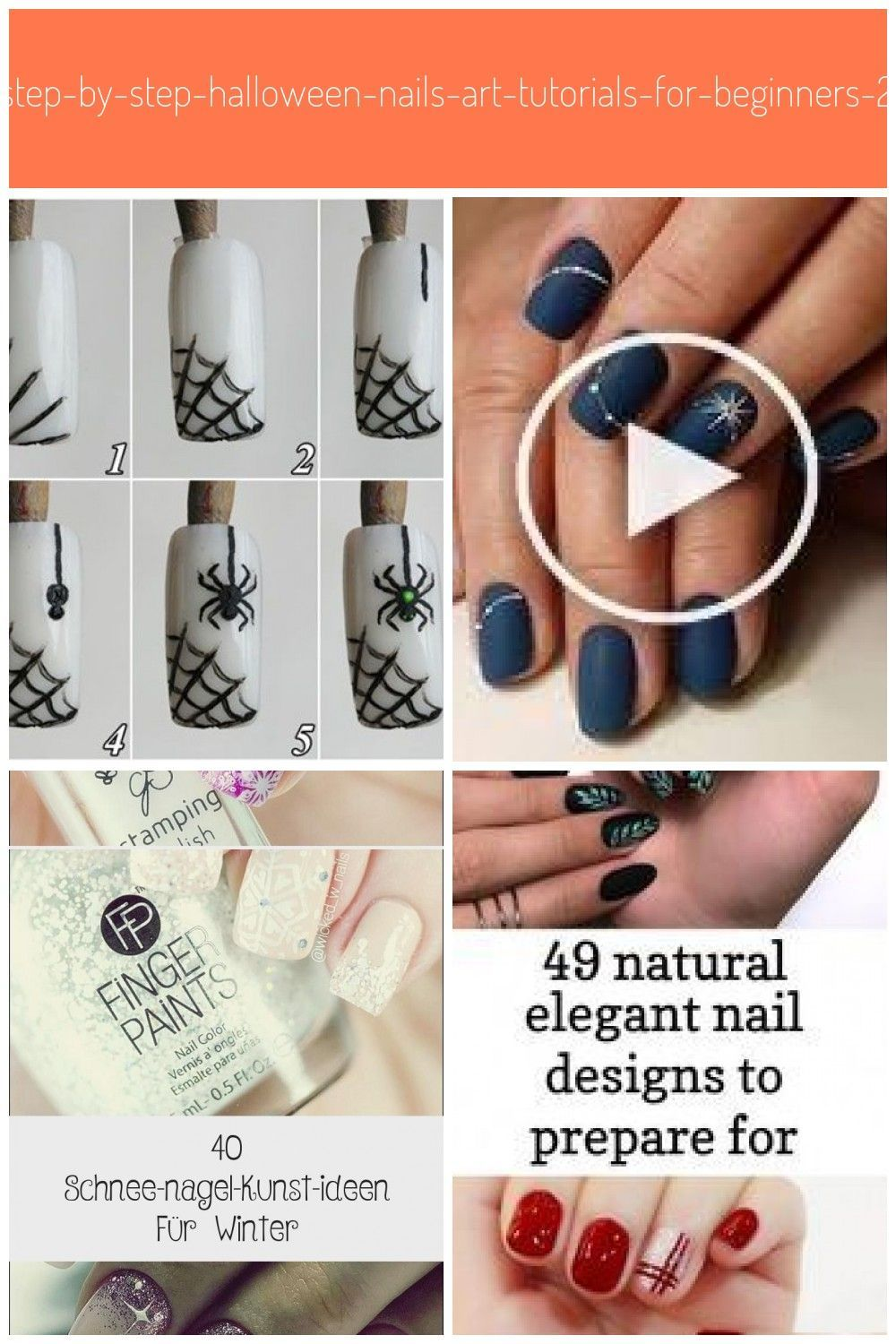 Easy Step By Step Halloween Nails Art Tutorials For Beginners 2019 3 Nails Nai Katze Easystepbys Halloween Nail Art Halloween Nails Nail Art Tutorial