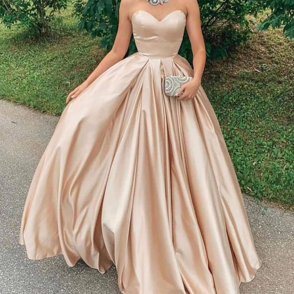 Champagne Prom Dresses 2020 Sweetheart Neckline Satin Ball Gown Evening Dresses Arabic Vestidos De Fiesta Sweetheart Evening Dress Ball Gowns Cheap Formal Dresses [ 1000 x 1000 Pixel ]