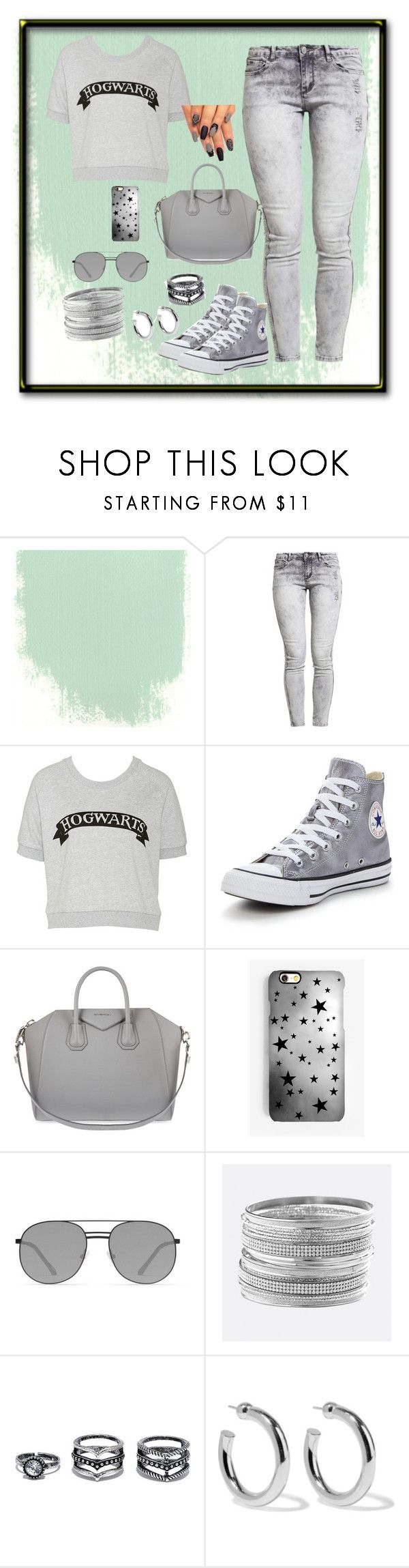 """""""Gray"""" by heysoulsistr ❤ liked on Polyvore featuring Converse, Givenchy, Rianna Phillips, Elizabeth and James, Avenue, LULUS and Sophie Buhai"""