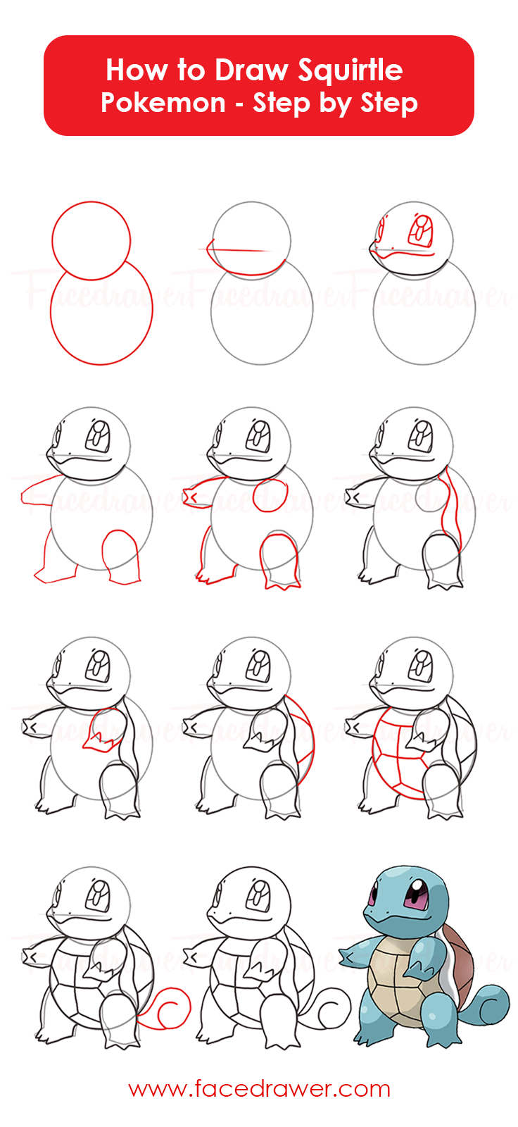 You Like The Cute Squirtle Pokemon Learn How To Draw Squirtle From Pokemon Just Follow Along Teh Easy Steps And Learn Pokemon Drawings Pokemon Easy Drawings