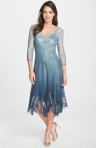 1b8321548db Komarov Lace   Chiffon Handkerchief Hem Dress available at  Nordstrom