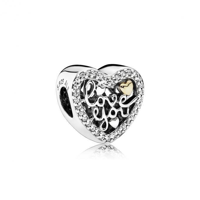 Pandora Charm Mot d'Amour - Lookeor | Bracelet pandora charms ...