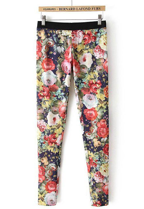 Floral Leggings - Sheinside.com
