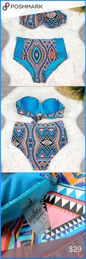 Tinibikini High Waist 2 Piece Swimsuit Strapless Tinibikini High waist Bikini 2