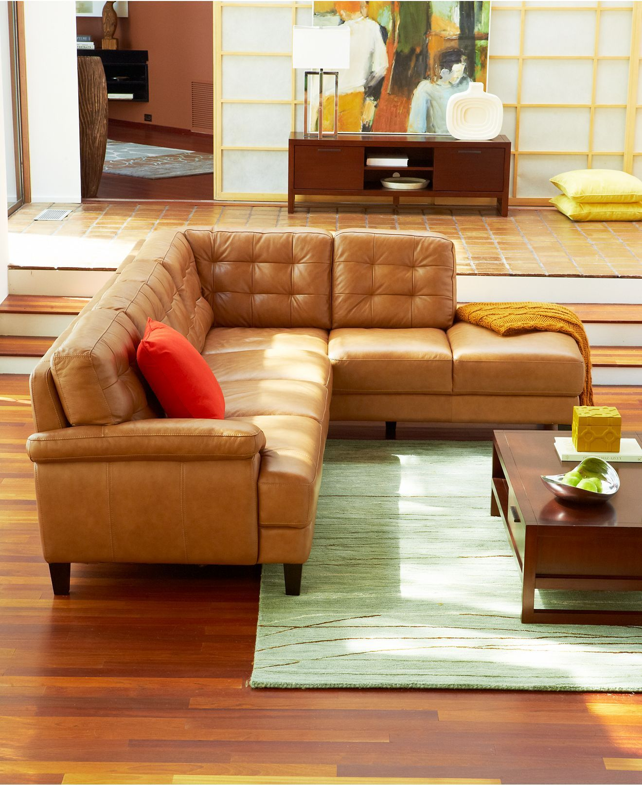 camel tufted sofa chaise jackson furniture sectional sofas gina living room modular couch on macy 39s decorating