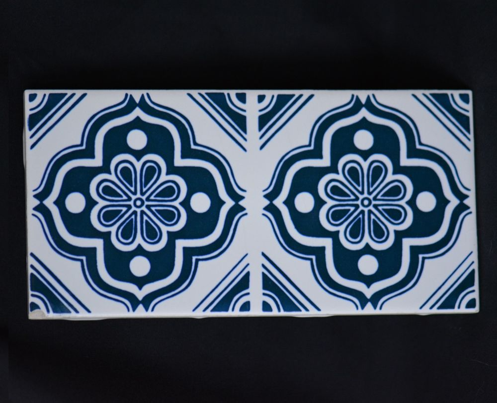 1960s Carter Tile - Blue/White Unusual 8\