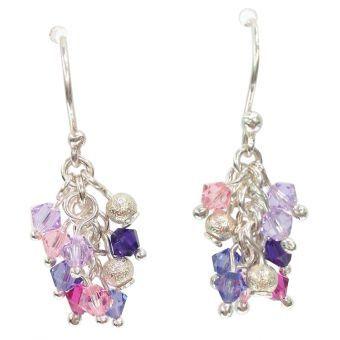 e579e9f269d1 Sumaq Design - Aretes Mujer Racimo - Morado y Rosado Aretes colgantes Para  mujer Elaborados en plata Decorado con Cristales Swarovski Diseño en forma  de ...