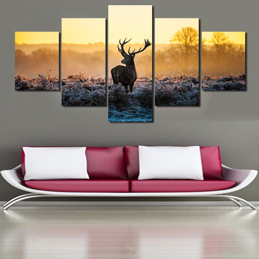 Sunset and Deer Picture wall, Home wall decor, Wall art
