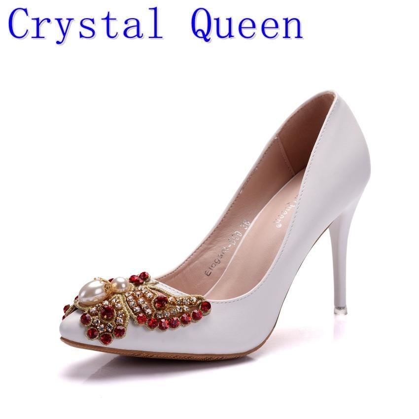a8dd45556b3a7b Crystal Queen Womens Shoes Pumps 9CM High Heels Wedding Shoes Women Pumps  Red Rhinestone Bride Dress Shoes