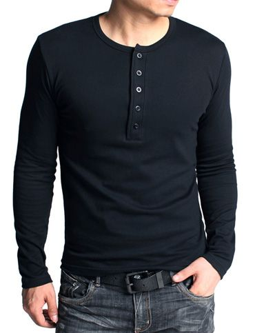 Men Kuegou Slim Fitted Long Sleeve Thick Henley T-Shirt | Item ...
