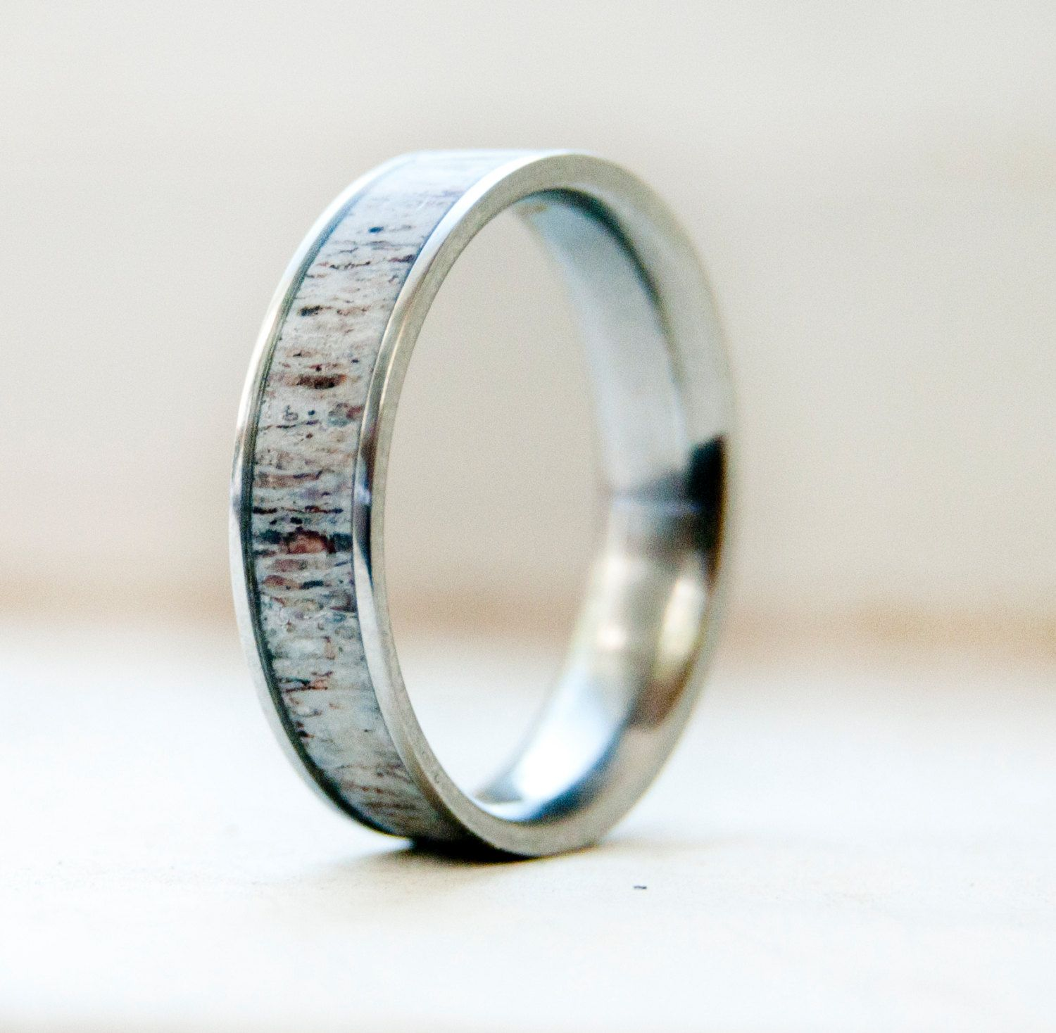Mens Wedding Band w/ Antler Inlay Wedding Ring - Staghead Designs ...
