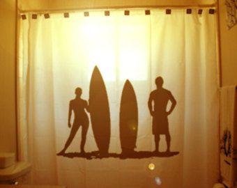 Surfers Surfing Shower Curtain Surf Board Beach Bathroom Decor Kids Bath Wave Ocean Ride Dude