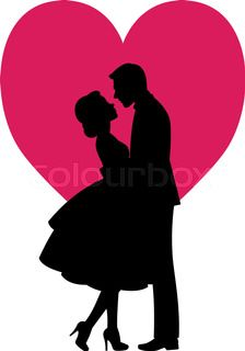 Black silhouette of lovers man and woman embracing on a white background