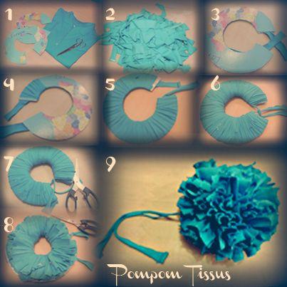 diy 1 r aliser un pompon en tissu pompon pinterest pompons en tissu pompons et tissu. Black Bedroom Furniture Sets. Home Design Ideas