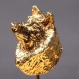 Siberian Husky gold-plated LAPEL PIN head 3D