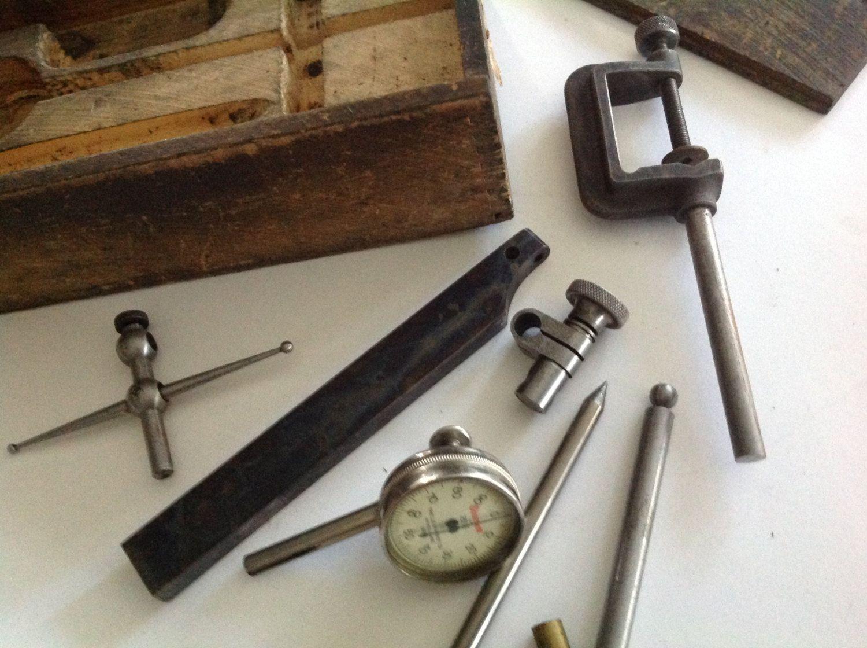 medium resolution of 1800 s starrett 196 antique micrometer caliper dial indicator set original old wood box by hannahandhersisters on etsy
