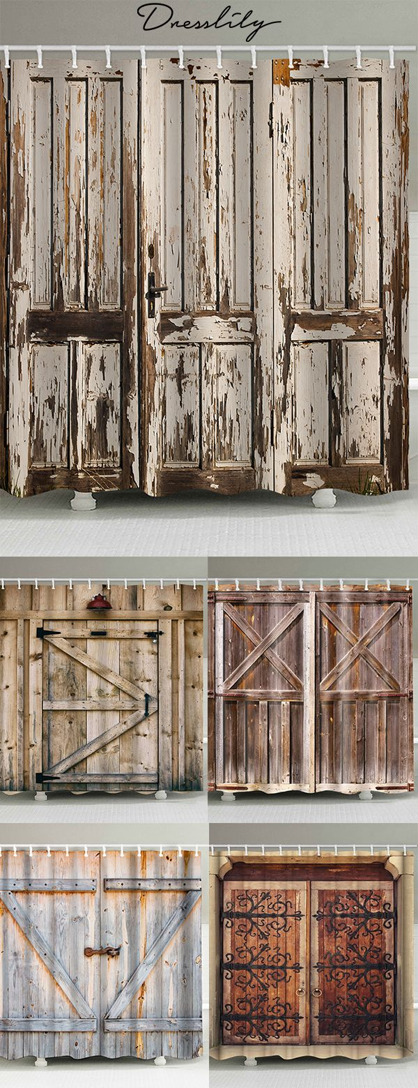 Dresslily Retro Wooden Door Pattern Waterproof Shower Curtain Dresslily Rustic Shower Curtains Barn Door Shower Curtain Patterned Shower Curtain