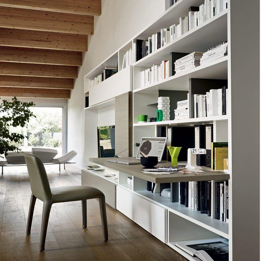 Risultati immagini per libreria con scrivania incorporata