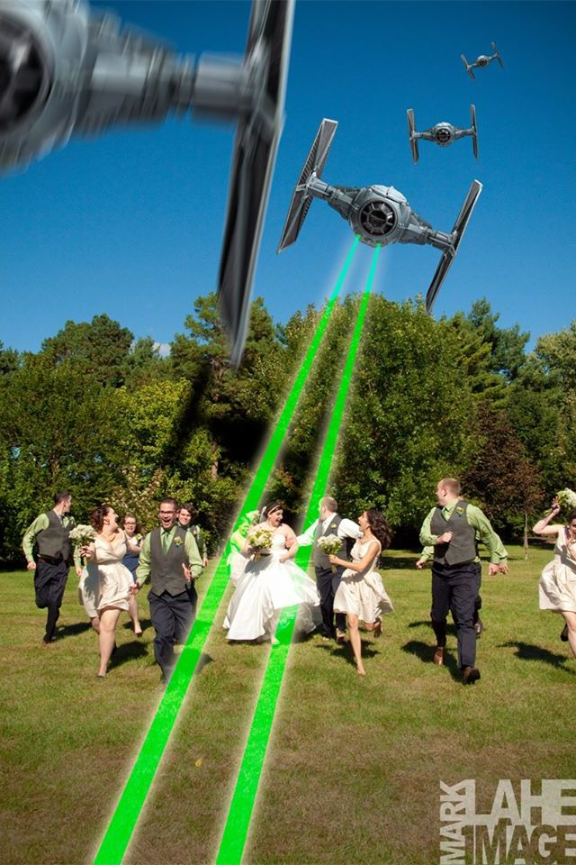 Awesome star wars wedding photo!