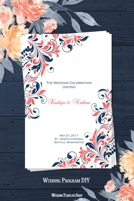 Wedding Program Template Kaitlyn Coral Navy Blue Program - how to design wedding program template