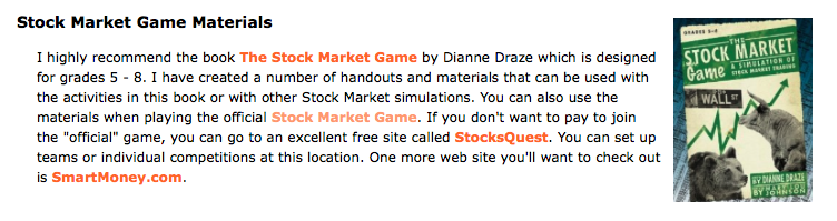 read the stock market game with your class and do a stock market