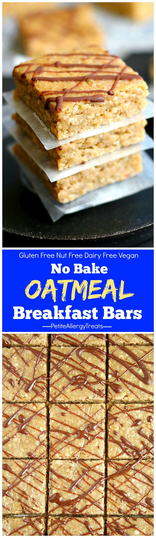 Gluten Free Oatmeal Breakfast Bars Vegan Petite Allergy Treats Recipe Breakfast Bars Recipe Allergy Friendly Recipes Oatmeal Breakfast Bars
