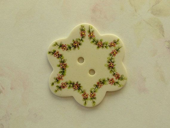 Pink Garland Button by goldsealproducts on Etsy