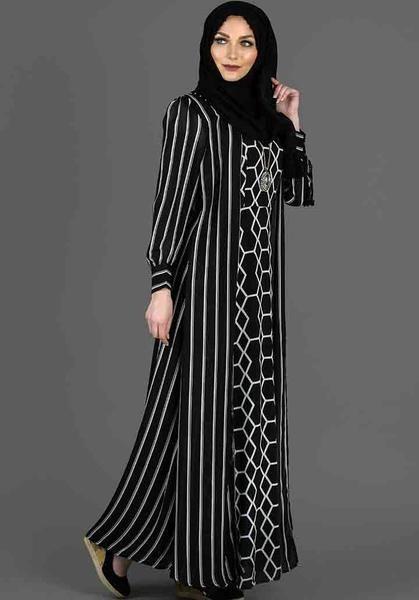 11333d063f Designer Black and white Striped  Abaya at Haiqah!! Visit  https
