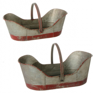 Distressed Metal Garden Baskets With Handle