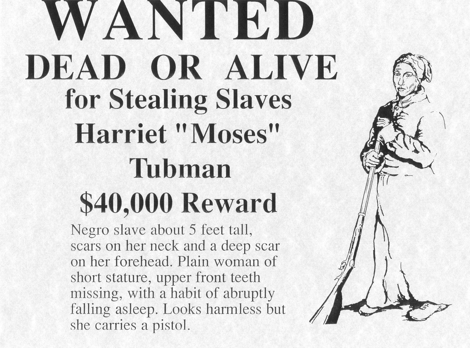 worksheet Harriet Tubman Worksheets reward poster for freed woman and underground railroad conductor harriet tubman a k general moses