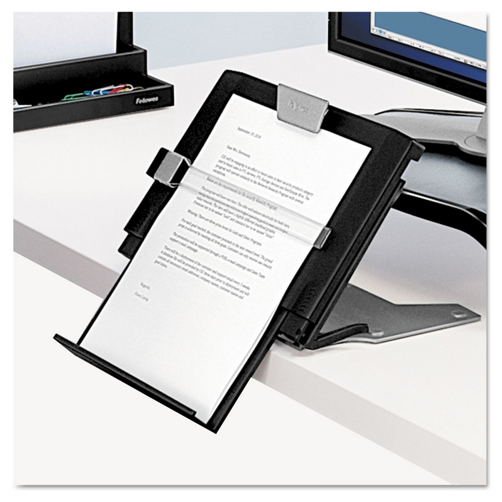 Black Fellowes Adjustable Document Holder with Line Guide