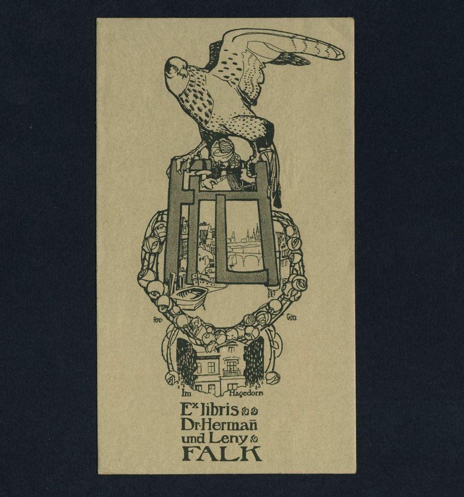 Details zu Exlibris Bookplate * FERDINAND GÖTZ * Jugendstil Falke ...