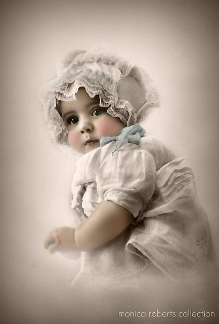 Hand coloured baby portrait ca 1915 from the monica roberts collection