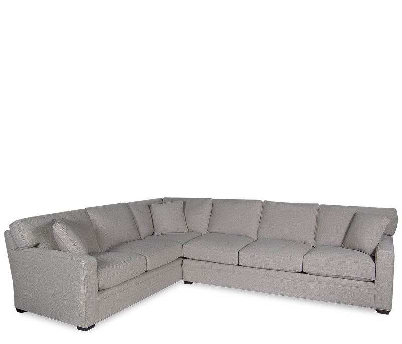 Boston Interiors Atwood Sectional Upholstered In A Durable Driftwood Woven Herringbone Fabric With Solid Maple Legs Stained Hickory Finish High Back