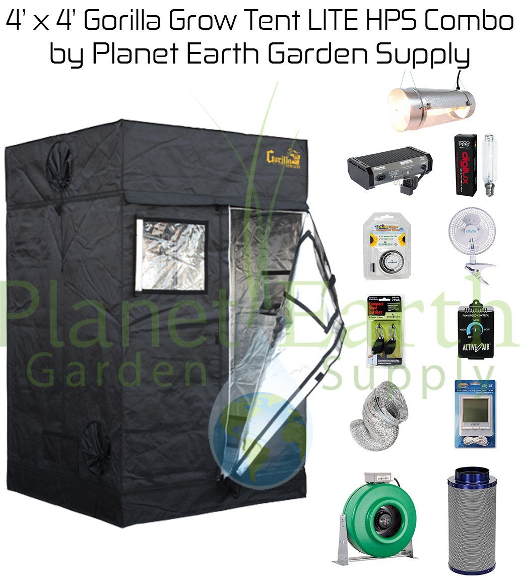 4 x 4 Gorilla Grow Tent LITE Kit 1000W HPS Combo Package