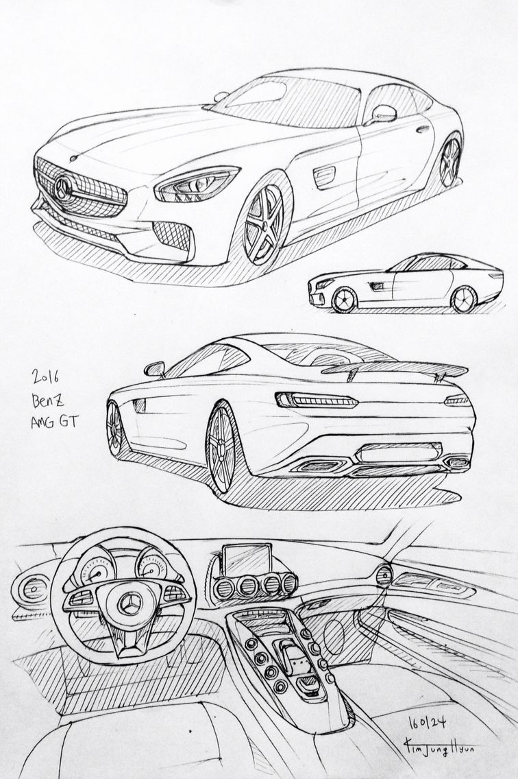 Car drawing 160124. 2016 Benz AMG GT. Prisma on paper. Kim.J.H | Car ...